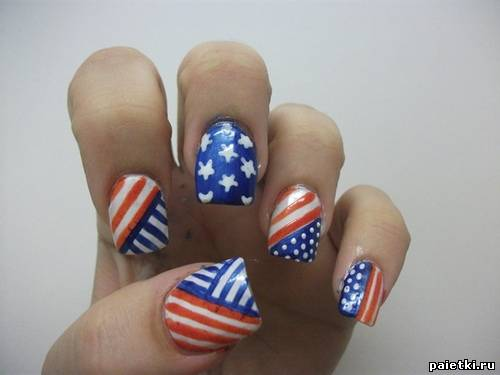 маникюр американский флаг