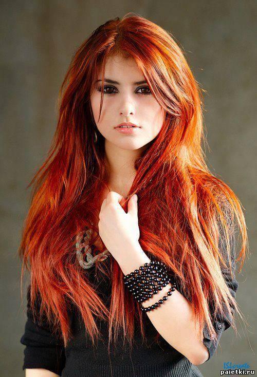 девушки с длинными красными волосами