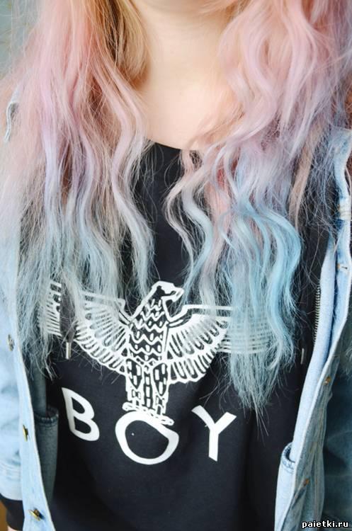 Розово голубые длинные волосы без
