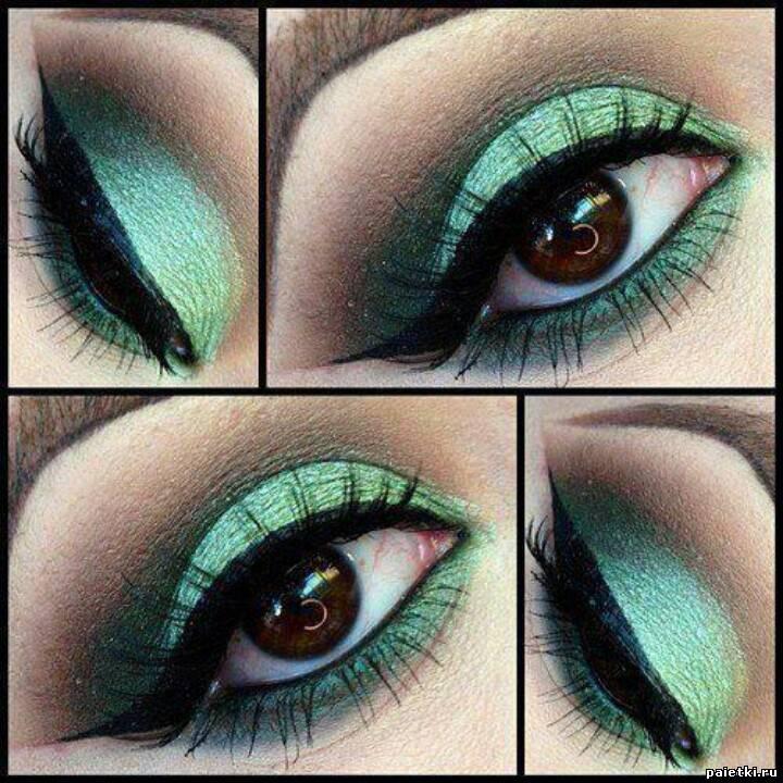Макияж теней с зелеными тенями