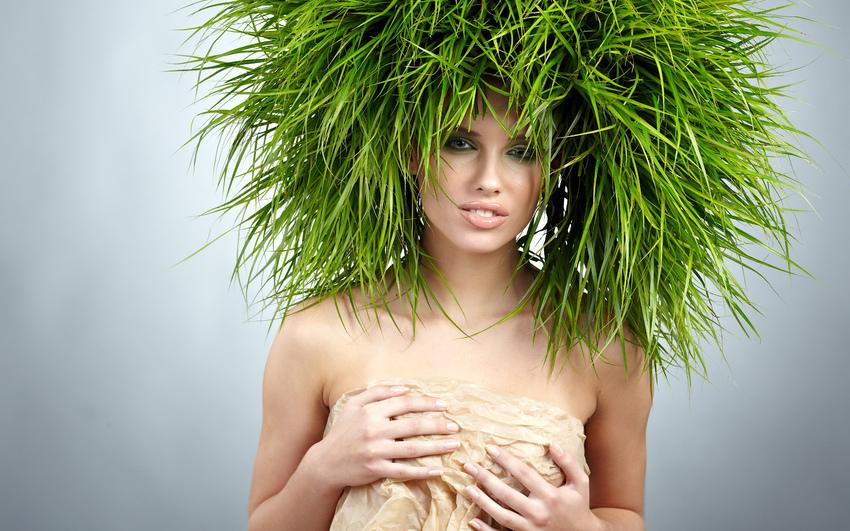 Как сделать с травой вместо волос